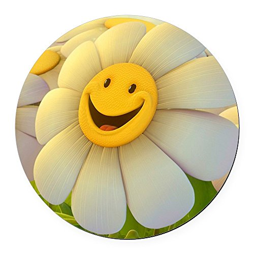 Round Car Magnet 5.5 Inch Smiley Face Daisy Flower