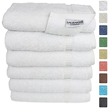 Turkish Luxury Hotel & Spa 16 x30  Hand Towel Set of 6 - 100% Genuine Turkish Cotton - Organic Eco-Friendly (Hand Towels, White)