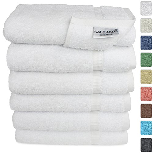 SALBAKOS Luxury Hotel & Spa Turkish Cotton 6-Piece Eco-Friendly Hand Towel Set 16 x 30 Inch, White