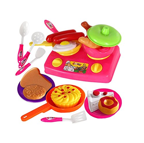 (Children's Kitchen Toys Kids Cooking Kitchenware Cooking Dinnerware Toy,Q4)