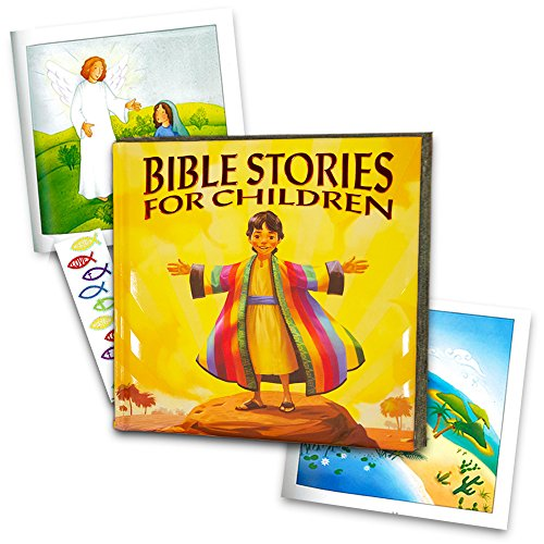 Bible Story Book Super Set for Kids Toddlers -- Deluxe Illustrated First Bible, Bible Coloring Book and Stickers (Christian Gifts for Kids)
