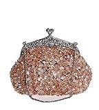 MissFox Women's Beaded Sequins Handbag Chain Shoulder Evening Bags