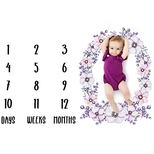 JINLE Baby Monthly Milestone Blanket-Premium Large 39.4''x39.4'' Wrinkle Proof Fleece Baby Weekly and Monthly Blanket - Perfect Gift for 1st Year Infant (BABY-MY-TD227-Plum Blossom) (Blossom Stroller Toy)