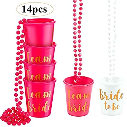 Pink 2 Hen Party Necklace with Shotglass Bridesmaid Bridal Shower Weekend party