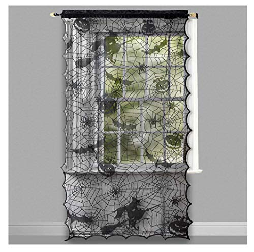 ghi Halloween LED Lighted Lace Window Curtain Panel Witches, Spider Webs, Jack o Lanterns, Bats & Spiders]()