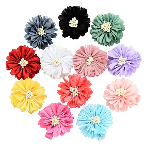 Sufermee 24 Pcs 2'' Baby Girls Alligator Hair Clips Chiffon Flower Hair Barrettes Hair Accessories for Toddlers Girls Teens Kids by Sufermee