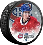 Inglasco Nick Suzuki (Montreal Canadiens) Special Edition Glitter Photo Hockey Puck in Display Cube