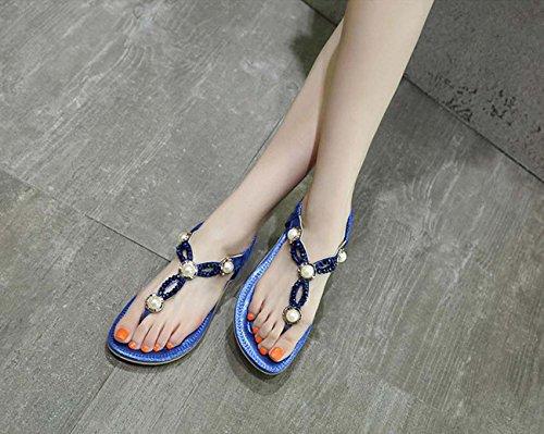 Zapatos Diamantes Diarias De Playa Planos Individuales De De Mujer Gran Imitación Zapatos Sandalias Tamaño De Zapatos Zapatos De GONGFF De Blue Gran Tamaño De Perlas Zapatillas Cómodas Rz6TwaUq