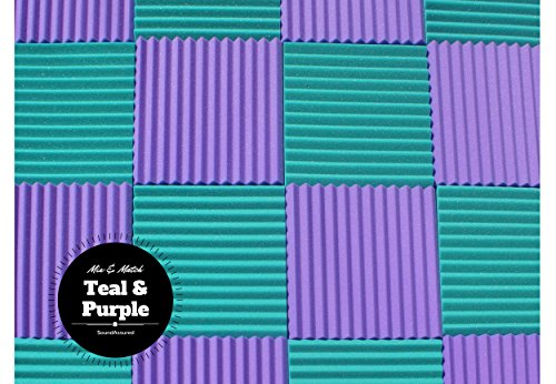 "Soundproofing Acoustic Studio Foam - Teal Color - Wedge Style Panels 12""x12""x1"" Tiles - 6 Pack by SoundAssured (Image #8)"