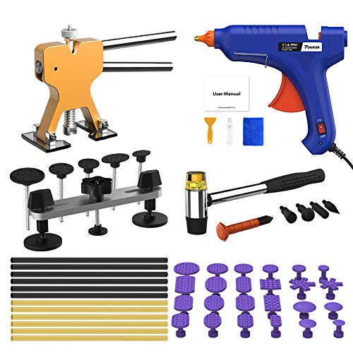 POWPDR Paintless Dent Repair Puller Kit, Adjustable Width and Height, Pops a Dent Car Dent Removal Kit, Golden Lifter, Bridge Puller, 100W Glue Gun, Auto Motorcycle Refrigerator Dent Remover Tools Kit