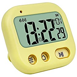 Vibrate Alarm Clock Digital Timer, Kids Kitchen Cooking Timer Display Time/Weekday, 3 Alarms Setting, Count up Down, Stopwatch, Retractable Stand, Hang Hole Study/Games/Exercise, Yellow