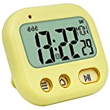 Vibrate Alarm Clock Digital Timer, Kids Kitchen Cooking Timer Display Time/Weekday, 3 Alarms Setting, Count up and Down, Stopwatch, Retractable Stand, Hang Hole for Study/Games/Exercise, Yellow