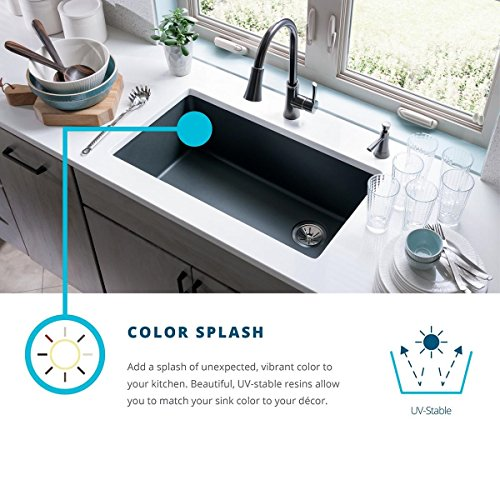 Elkay Quartz Classic ELGDLB3322WH0 White Equal Double Bowl Drop-In Sink with Aqua Divide by Elkay (Image #3)