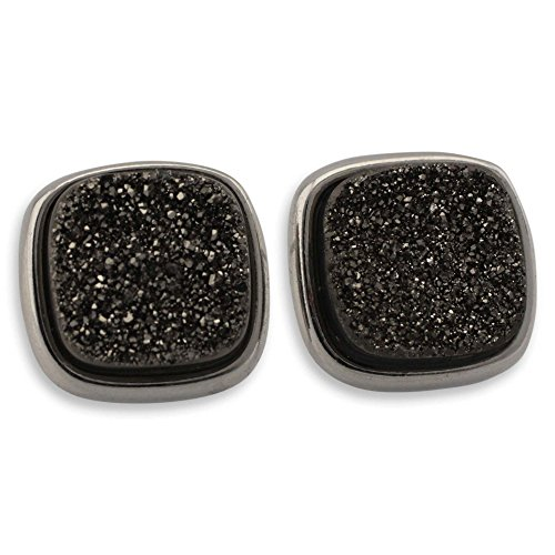 NOVICA Brazilian Drusy Agate Button Earrings in Rhodium Plated Brass, Dazzle By Night'