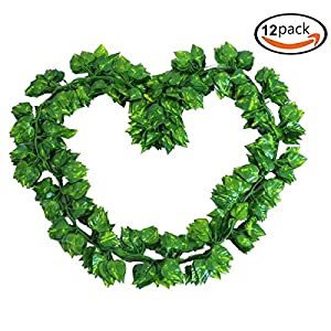 GoFriend 12 Strands(83 Feet) Artificial Ivy Leaf Garland Fake Hanging Vine Plant Greenery Leaves Garland for Wedding Party Home Garden Office Wall Decor 3