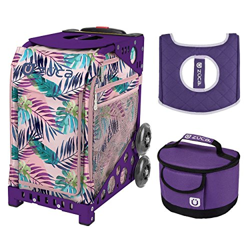 Zuca Sport Bag - Pink Oasis with Gift Lunchbox and Seat Cover (Purple Frame) by ZUCA