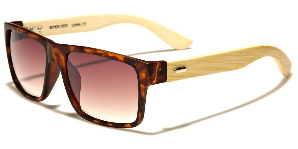 Matte Tortoise Amber Bamboo Wood Two Tone Horned Rim Men Women Sunglasses