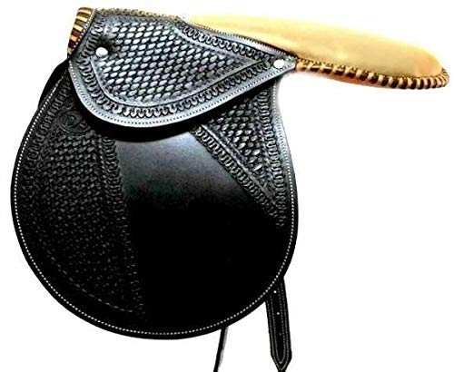 Brand Fancy Black Leather Racing Exercise//Training Saddle Horse Tack Equine D.A