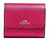 COACH ACCORDION CARD CASE IN CROSSGRAIN LEATHER f54843 Bright Pink