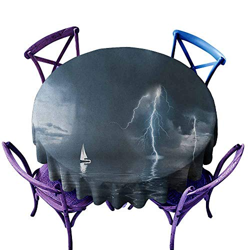 ONECUTE Round Solid Polyester Tablecloth,Sailboat Yacht at The Ocean Comes Nearer a Thunderstorm with Rain and Bolt Artwork Print,for Events Party Restaurant Dining Table Cover,40 INCH Blue Grey