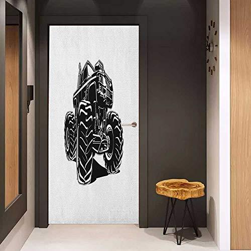 (Onefzc Door Wallpaper Murals Truck Modified Automobile Monochrome Sketch Pattern Monster Pickup Truck Off Road Vehicle WallStickers W36 x H79 Black White)