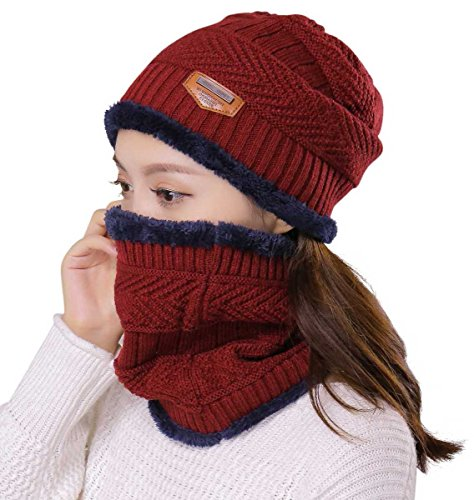 HINDAWI Womens Slouchy Beanie Winter Hat Knit Warm Snow Ski Skull Cap (_Hat and Scarf (Red))