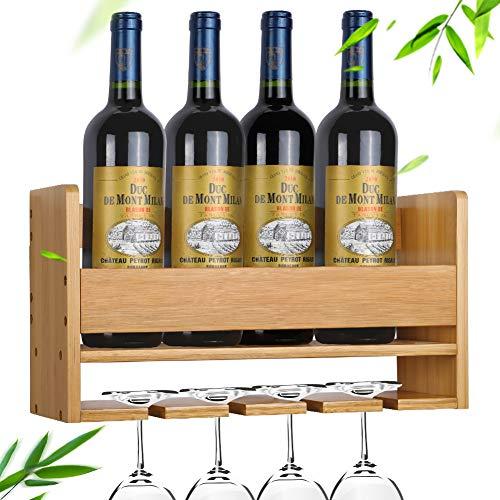 Fastuu Wine Rack Wall Mounted, Bamboo Wine Glass Rack, Red White Champagne Bottle Wine Rack Glass Holder, Home & Kitchen Decor Hold 1~4 Bottles & 4 Wine Glass, A Wonderful Gift.