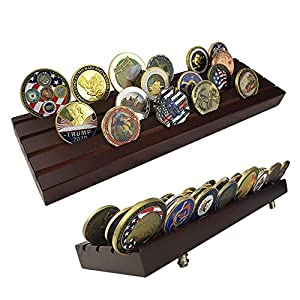Indeep 4 Rows Military Challenge Coins Stand Holder Display Rack Wooden from Indeep