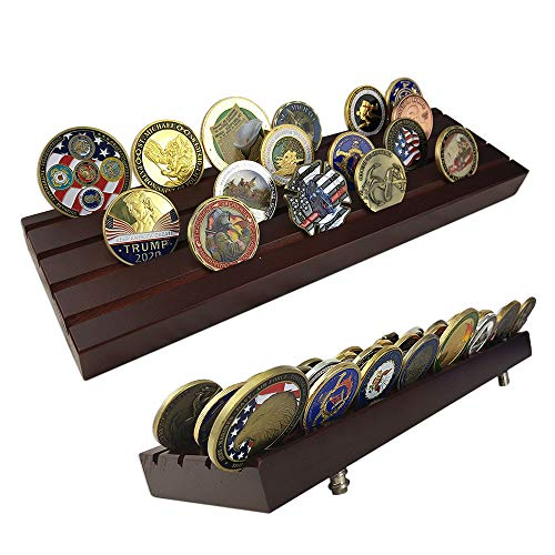 Coin Display Row (Indeep 4 Rows Challenge Coins Stand Holder Display Rack Wooden)