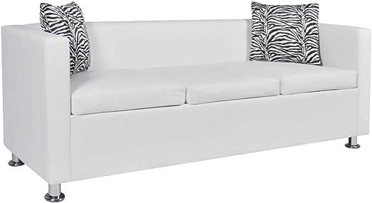 Oferta amazon: vidaXL Sofá Blanco de Cuero Artificial, 3 plazas Bricolaje Muebles casa Asiento