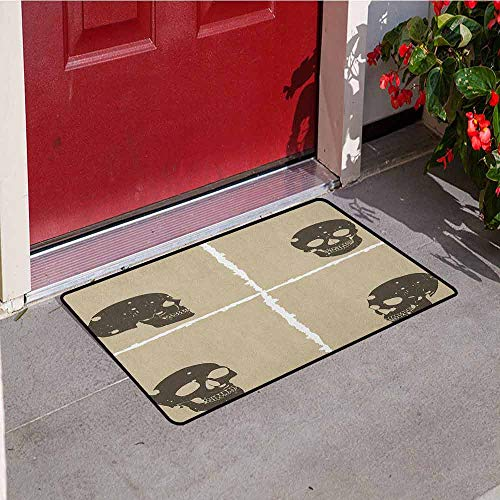 Gloria Johnson Grunge Inlet Outdoor Door mat Skull Figure on Murky Flat Framework Halloween Crossbones Spooky Monster Image Catch dust Snow and mud W23.6 x L35.4 Inch Tan Dark Taupe