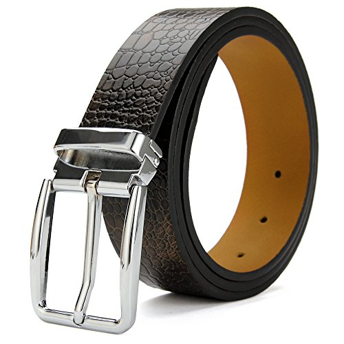 [XIANGUO Men's Leather Belt Crocodile Pattern Belt For Men(Gift Box)] (Changeable Buckle)