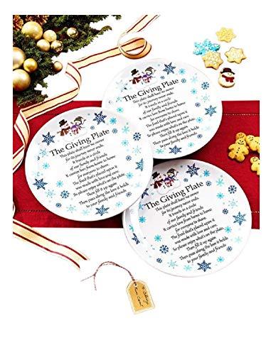 (Set of 3 Melamine Giving Plates Snowman -)