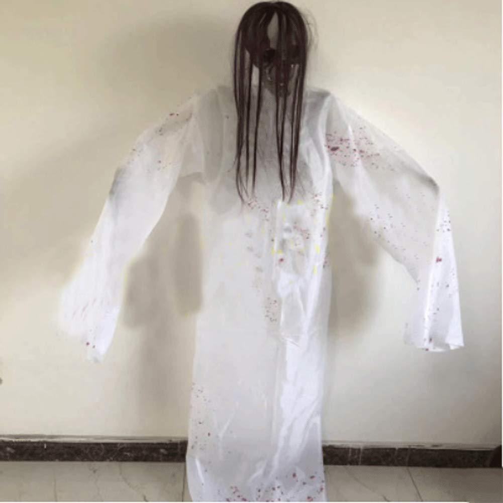 LLU Halloween Bar Décoration Maison hantée Terrorist Props Arranged Hanging Ghost Room Escapes Sensing Sound Control Corps Électrique