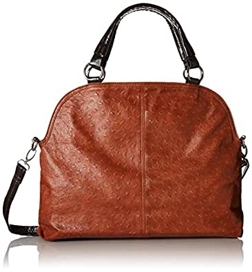 MG Collection LUCIA Brown Everyday Free Style Soft Ostrich Shoulder Tote Bag