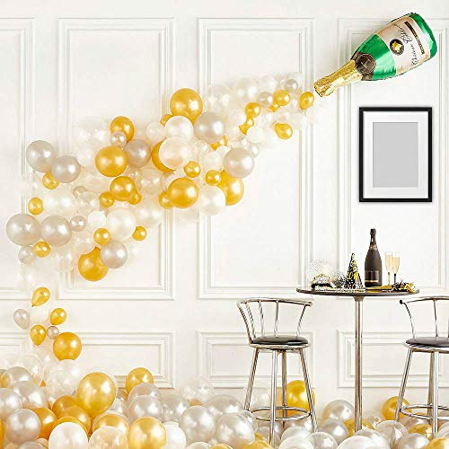 XmasExp DIY Silver & White & Gold Latex Balloon Garland Kit,91 Pcs Balloons Arch Garland,Tying Tools | Glue Point | Ribbon | Balloon tape stripfor Wedding, Baby Shower,Party