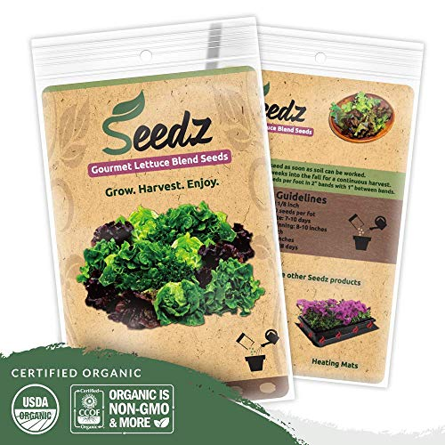 Organic Lettuce Seeds (APPR. 1,100) Lettuce Blend - Heirloom Vegetable Seeds - Certified Organic, Non-GMO, Non Hybrid - USA ()