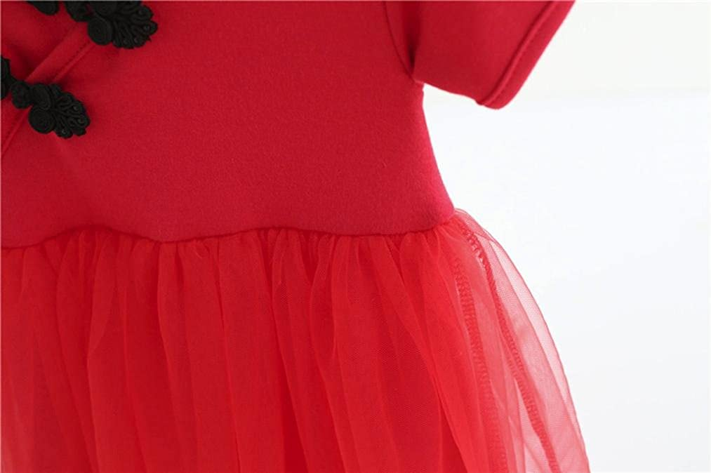 Chinese Style Dresses For Baby Girls Infant Short Sleeves Lace Tutu Dress Skirts