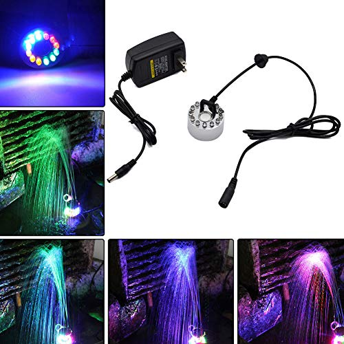 JUST N1 1PC Fountain Ring Light RGBY Color Changing LED Submersible Underwater 12 LED 20W DC 24V PC Adapter for Garden Fish Pond Landscape