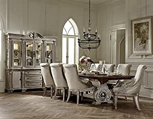 Chatelet European 7 Piece Trestle Formal Dining Set - White Washed with Weathered Brown Top