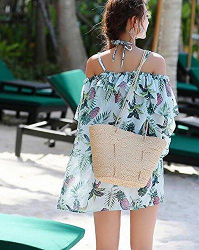 Bagno xxl Skirt Beach Pezzi Homee Da Costume Swipeuit Tre chiffsuit In Acciaio blu xp4CWg