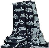 Brandonn Fashions Car Knitted Baby Blanket 100cm x 80cm (Navy & Grey)
