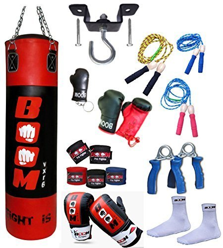 BooM Pro 1,2 m Boxen Boxsäcke, Tasche Handschuhe, MMA Fitness, Deckenhaken Training Set