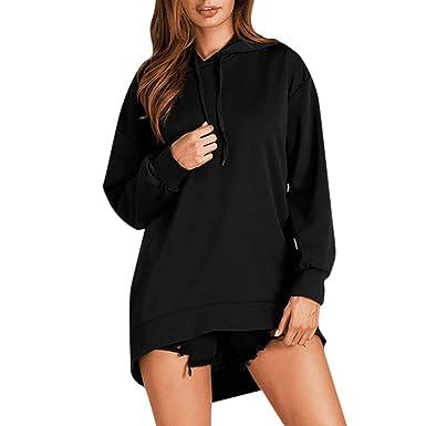 84bc1b1578 OVERDOSE Robe Sweat à Capuche Noir, Oversize Robe Sweat Longue Casual  Pullover Hoodie Dress: Amazon.fr: Vêtements et accessoires