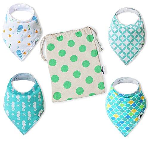 Premium Unisex Baby Bandana Drool Bib 4-Pack Unique Baby Shower Gift Set w/ Canvas Bag | Soft Organic Cotton & Fleece, Snap Closure | Teething Bibs for Girls and Boys