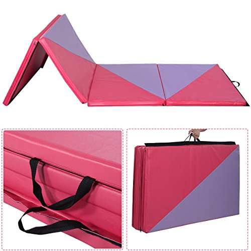 Hot Sports & Fitness 4'x10'x2″ Gymnastics Mat Thick Folding Panel Gym Home Exercise Pink/Purple New