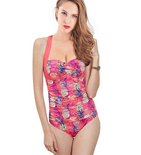 ZOYOL-YT Mujeres de gran tamaño de una pieza de traje de baño traje de baño cuello de alta cintura floral siamés sombra era Thin Beach Swimwear Red