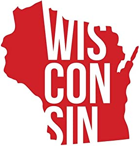 ND458R State Of Wisconsin Decal Sticker   5.5-Inches By 5.1-Inches   Premium Quality Red Vinyl