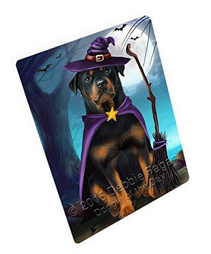 (Happy Halloween Trick or Treat Rottweiler Dog Witch Art Portrait Print Woven Throw Sherpa Plush Fleece Blanket (50x60)