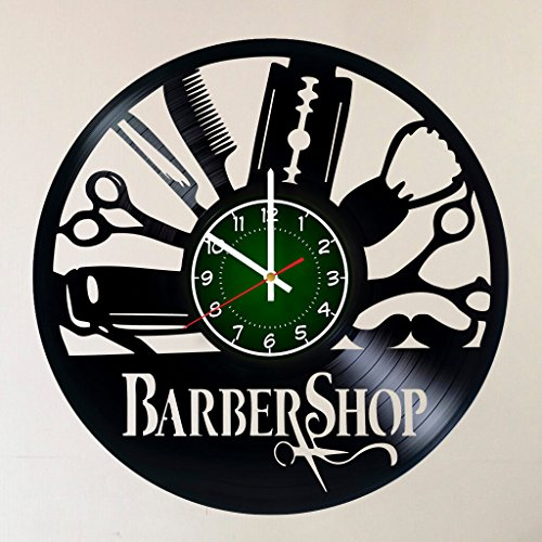 Barber Shop (Beauty Salon) 12 INCH / 30 cm Vinyl Record Wall Clock | Art Design of Beauty Salon Gift for Barbers - Hairdresser Hairstyles Barbershop Barber - Adults Salon Hairdresser Hairstyles]()